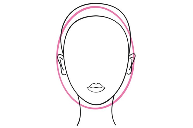 Oval shaped face outline