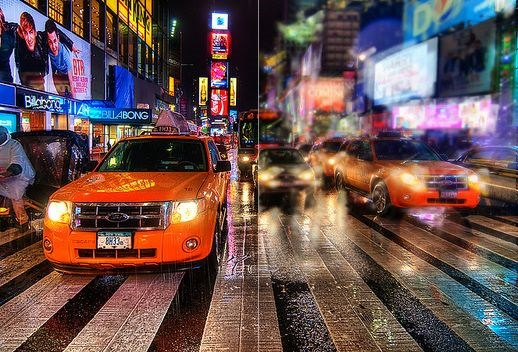 New York yellow taxi reflecting onto a shop window in Times Square