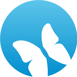 Blue freedom icon with white butterfly in bottom right corner