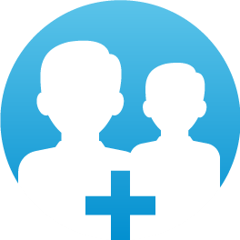 Blue partnership icon with two people