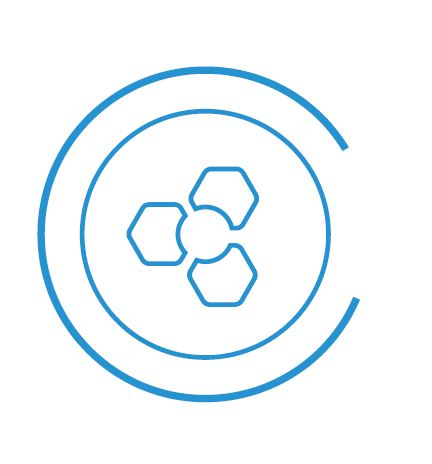 Blue circle logo with icon in centre