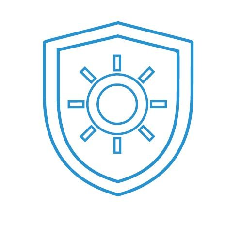 Blue outline icon with blue shield in the centre