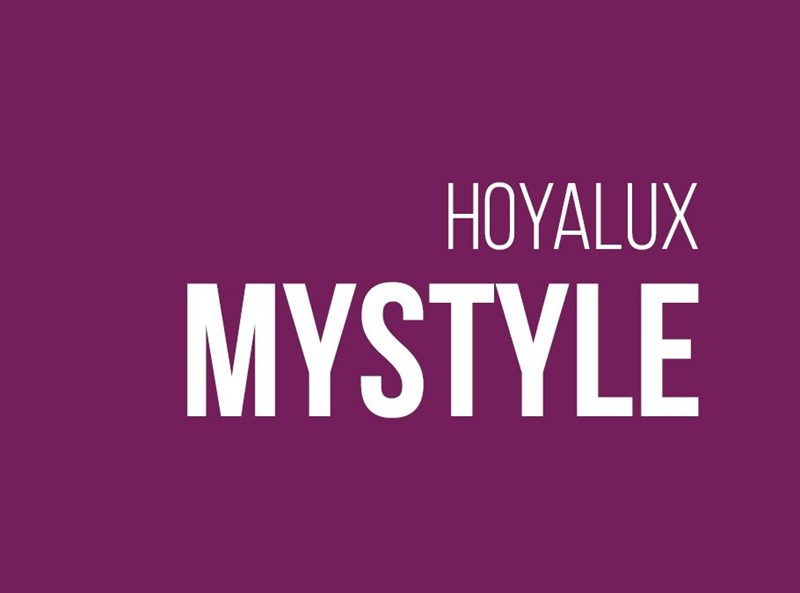 Purple background with hoyalux mystylewritten in white
