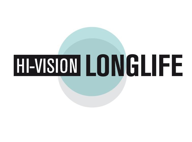 Hi-vision longlife logo on white backgrounf