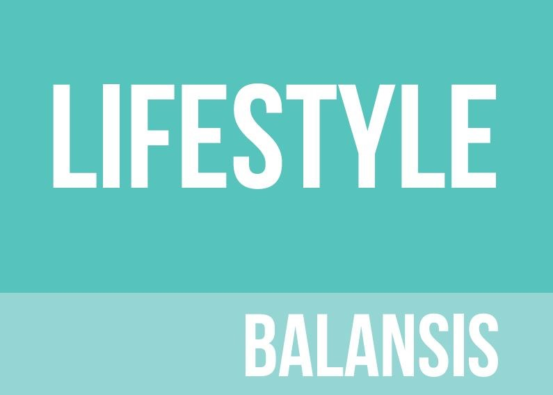 Turquoise background with lifestyle balansis written in white