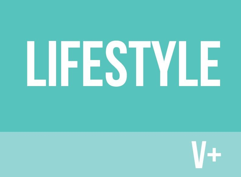 Turquoise background with lifestyle V+ written in white