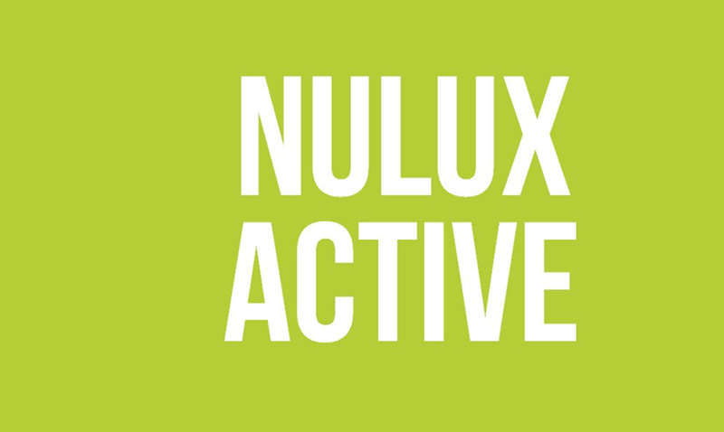 Lime green background with nulux active written in white