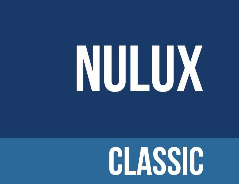 Navy background with nulux classic written in white