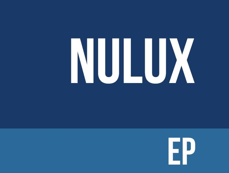 Navy background with nulux EP written in white