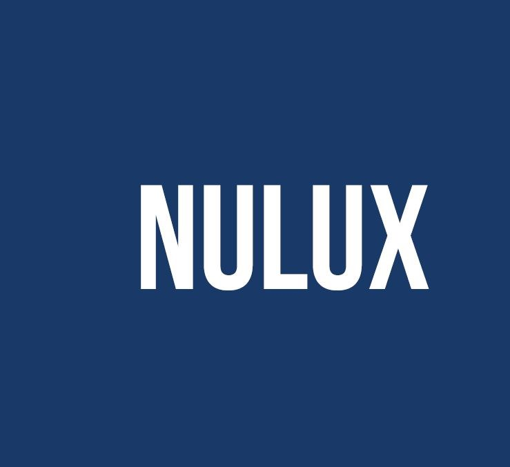 Navy background with nulux written in white