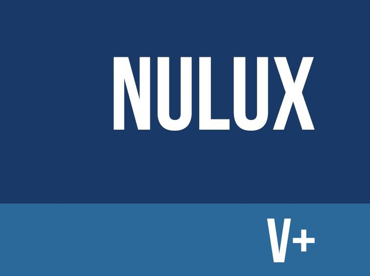 Navy background with nulux V+ written in white