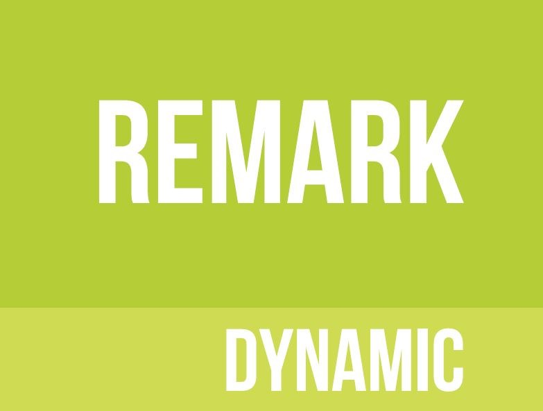 Lime green background with remark dynamic written in white