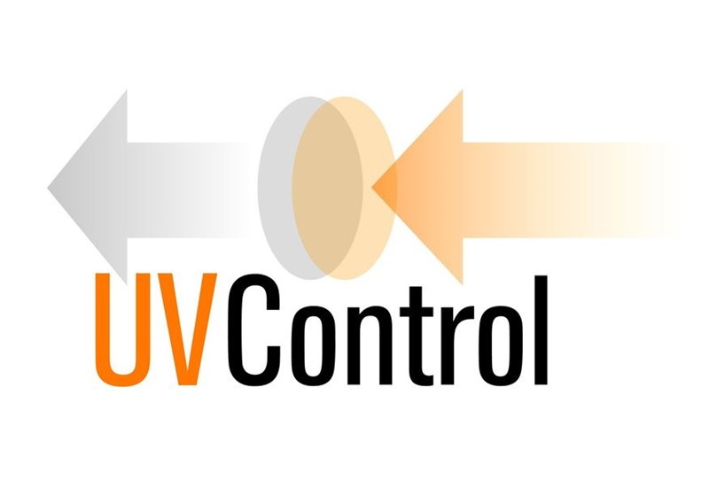 Orange, grey and white UV control logo