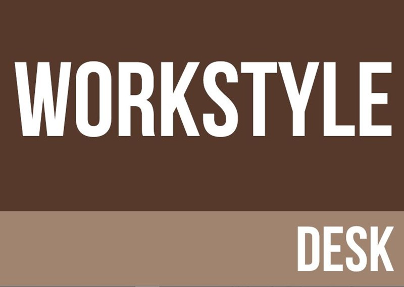 Brown background with workstyle desk written in white