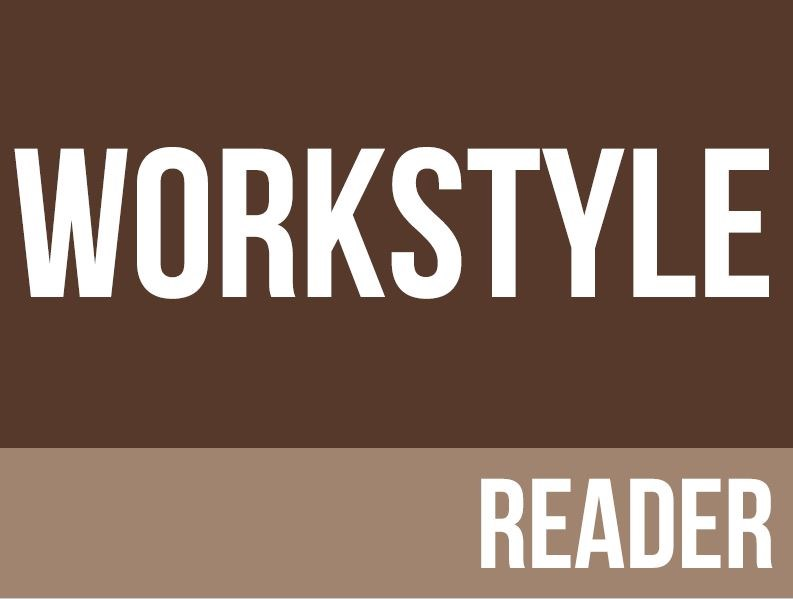 Brown background with workstyle reader written in white