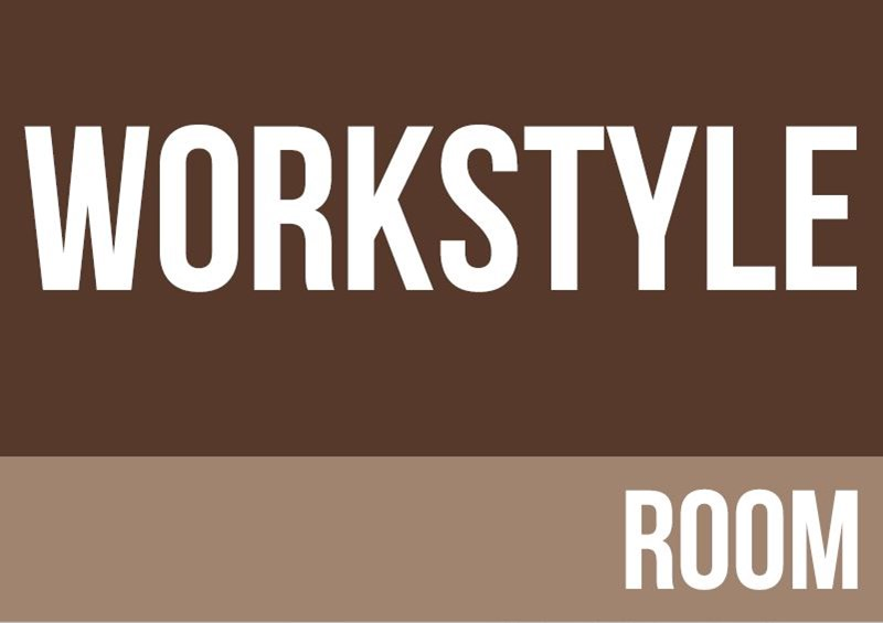 Brown background with workstyle room written in white