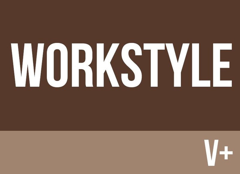 Brown background with workstyle v+ written in white