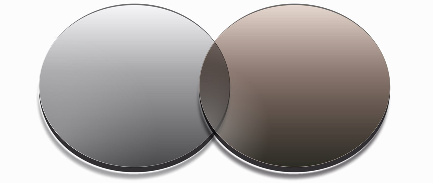 Two different tinted lenses side by side