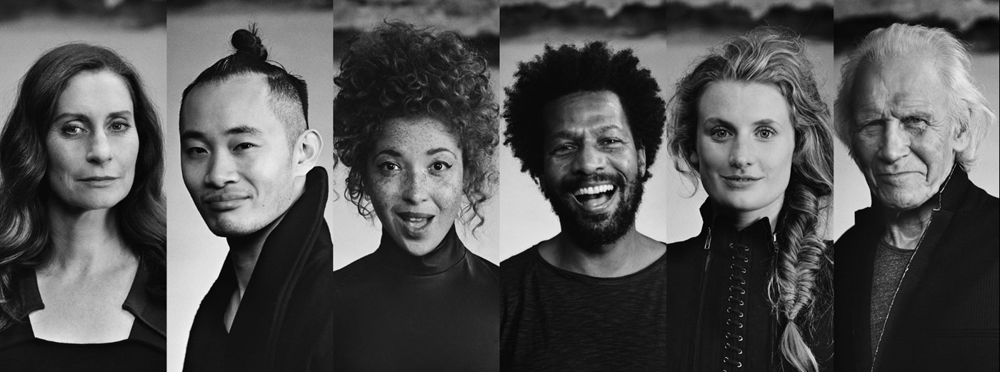 Black and white image collage of six people looking at camera